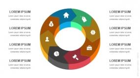 3D立体8段弧形圆圈循环图形PPT图表-6