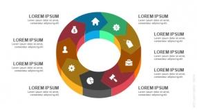 3D立体9段弧形圆圈循环图形PPT图表-7