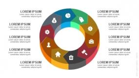 3D立体10段弧形圆圈循环图形PPT图表-8