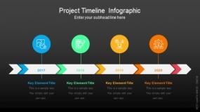 深色背景项目时间轴信息图PPT图表-95